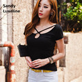 2016 Summer Style Sexy Black Tee Tops Cotton T Shirt Women Cross Neck with a keyhole Harajuku Fit Tshirt Women Tees Cheap 007