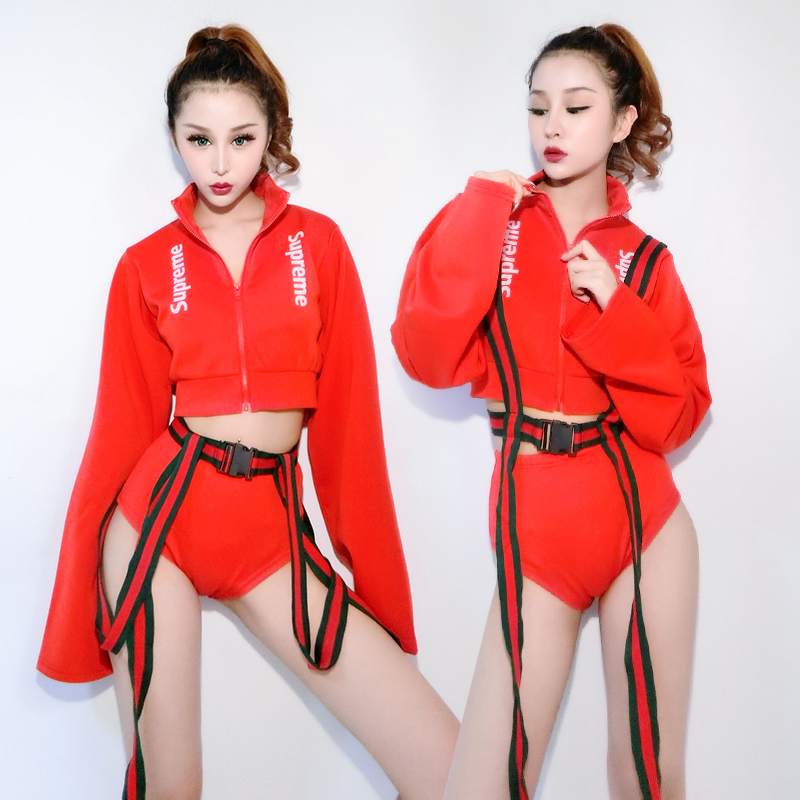 Jazz Stage Costumes For Singers Women Hip Hop Red Coat Shorts Performing Clothes Ladies Nightclub Dancer Pole Dance Wear DN2919
