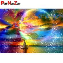 ParNarZar Diamond Painting Color Moon Starry Sky By Number Kits Full Drill Rhinestone Embroidery Cross Stitch Picture Art Craft