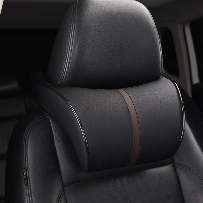 Adjustable Car Leather Headrest Neck Protection Pillow Cushion