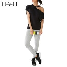 HYH Haoyihui Femme Summer Stylish Casual Tops Girls Sexy Black Skew Collar Round Hollow Out Asymmetric Short Sleeves T-shirts