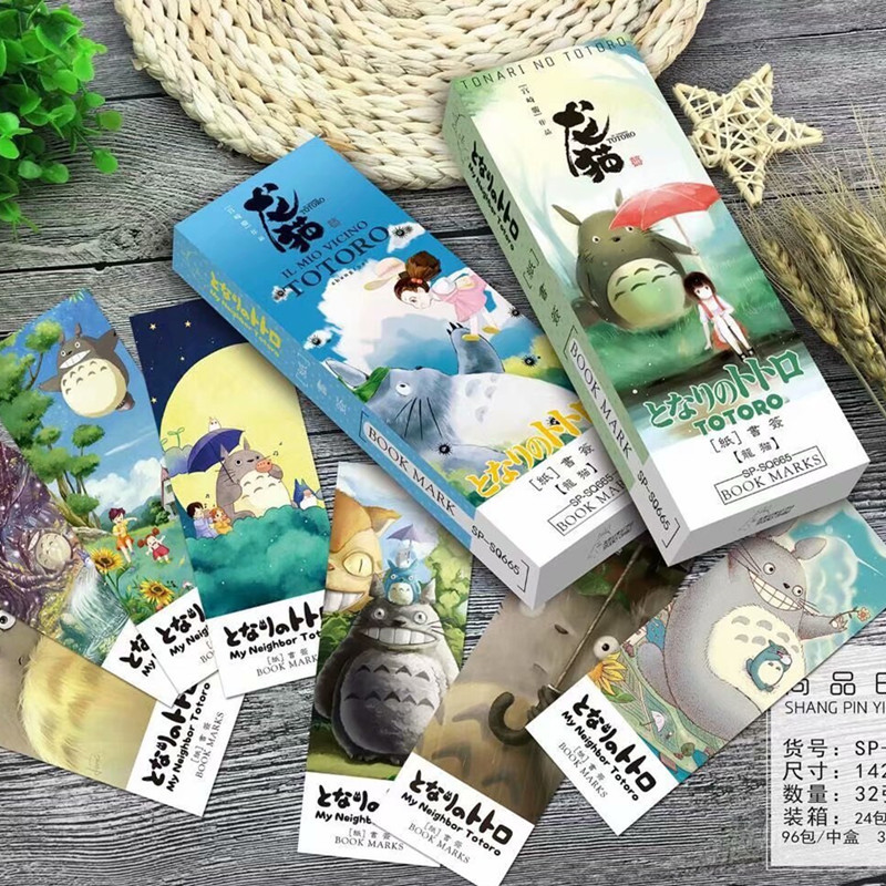 32 Pcs/pack Cartoon Totoro Comic Bookmark Paper Cartoon Animals Bookmark Promotional Gift Stationery Film Bookmark