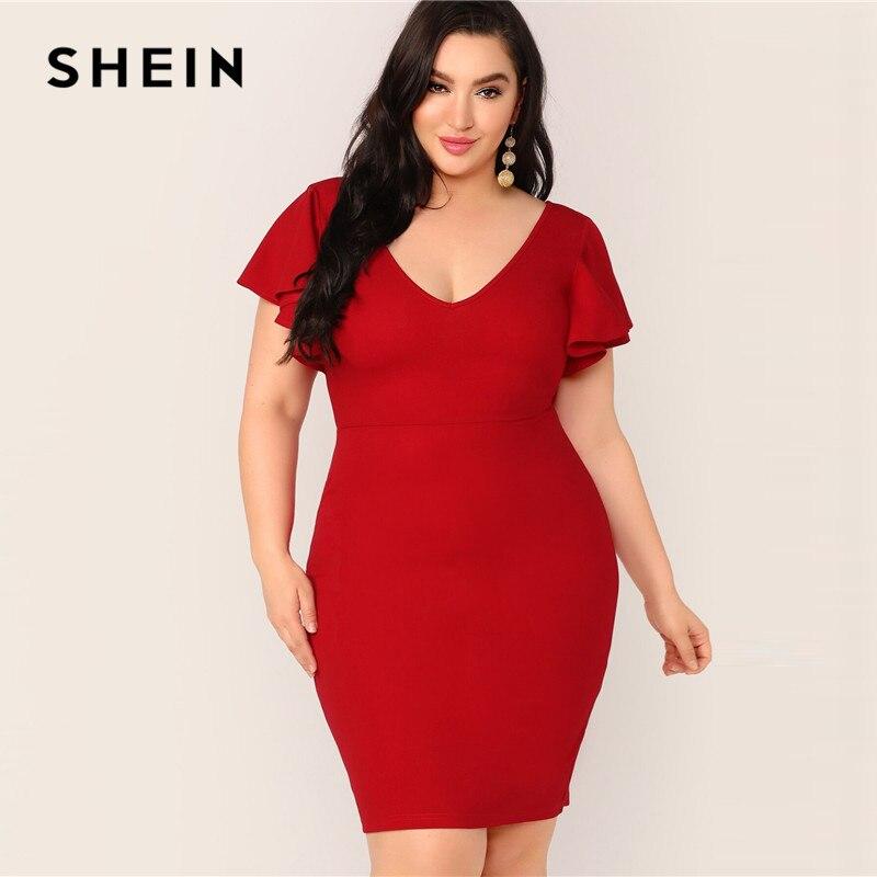 SHEIN Plus Size Red Zip Back Ruffle Trim Bodycon Dress 2019 Women Summer Elegant Butterfly Sleeve Slim Pencil V Neck Plus Dress