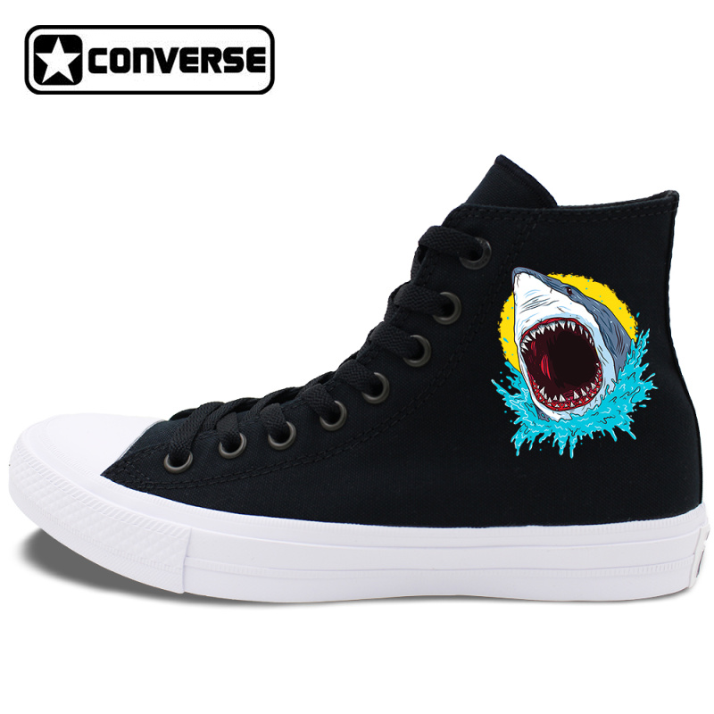 Men Converse Design Shark Pattern Chucks Taylor Flat High Lace Up Skateboarding Shoes Canvas Sneakers Women Christmas Gifts