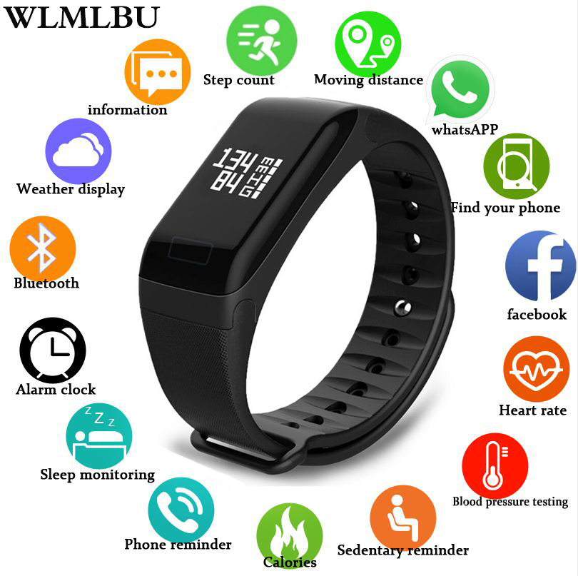 WLMLBU Fitness Tracker Wristband Heart Rate Monitor Smart Bracelet F1 Smartbracelet Blood Pressure With Pedometer