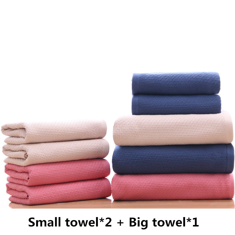 Breathable Hotel Towels Bath Towel 3pcs Set for Adults Washcloths High Absorbent Home and Hotel Using Plain Color Gift Towel