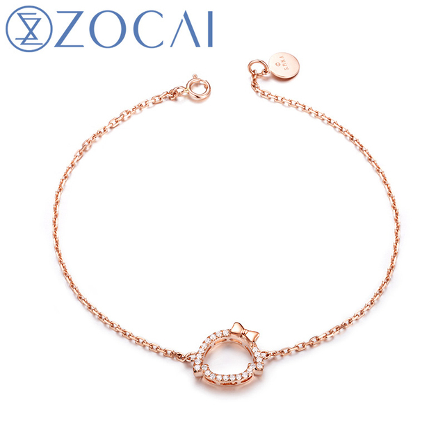 ZOCAI 2016 New Arrival Chi-Bi Sakura Real 0.10 CT Diamond Blacelet 18K Rose Gold (Au750) S80073T