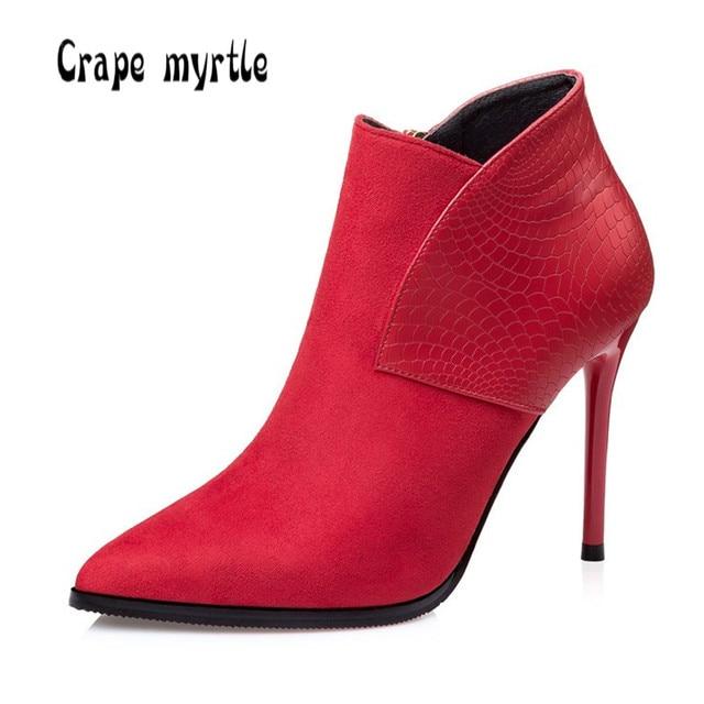 Pointu Bottines Cuir Chaussures Femme rouge Noir wWOqtJ