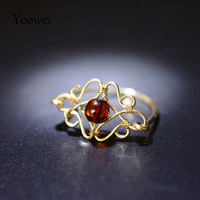 Yoowei Wholesale 5mm Natural Amber Rings for Women Baltic Genuine Amber Ring Female Unique Gift Handmade diy 925 Jewelry Anillos