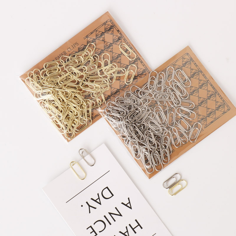 Gold Mini Paper Clips 50Pcs Small Metal Paperclip 15mm Silver Plating Finish Bookmarks For Office School Stationery Supplies