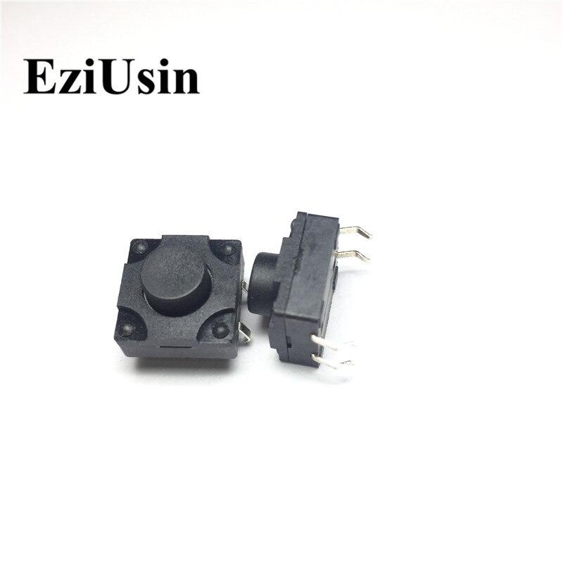 EziUsin 12*12*8 Waterproof 4 Pins DIP Copper Feet Interrupteur PCB Keyboard Touch Micro Switch Mini Black Button Keys DIY