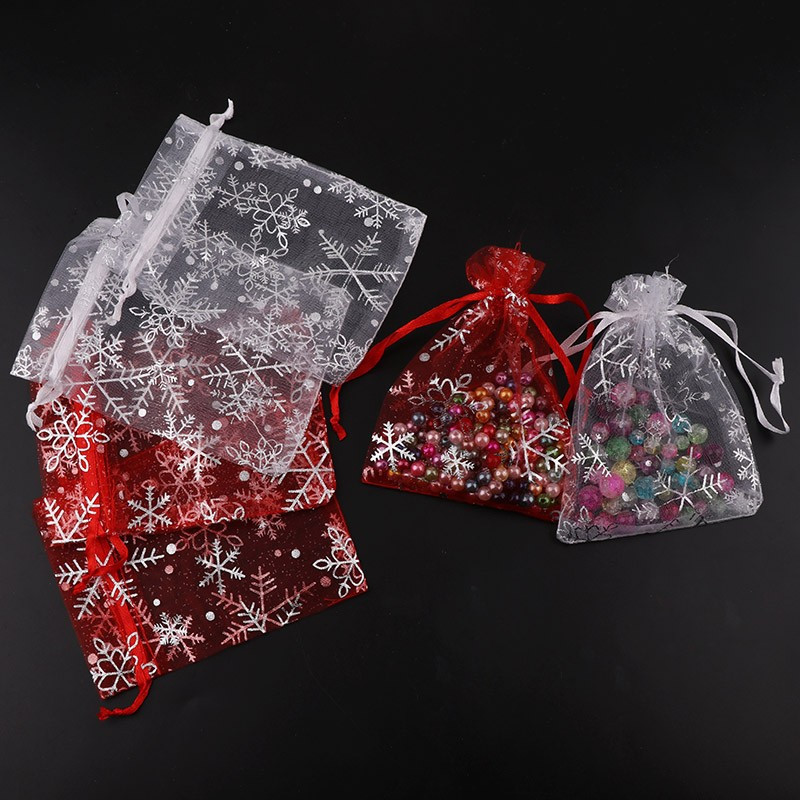 20pc/lot Christmas Organza Bags Red Sliver Color Jewelery Pouches Xmas Wedding Party Decoration Drawable Bags Gift Packaging