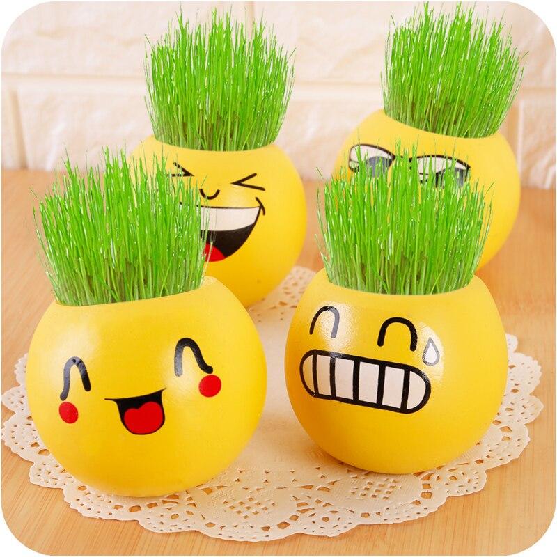 Creative Gift Planter Grass Growing Head Planters Bonsai Pot Ceramic Doll Pot office furniture life decorations.