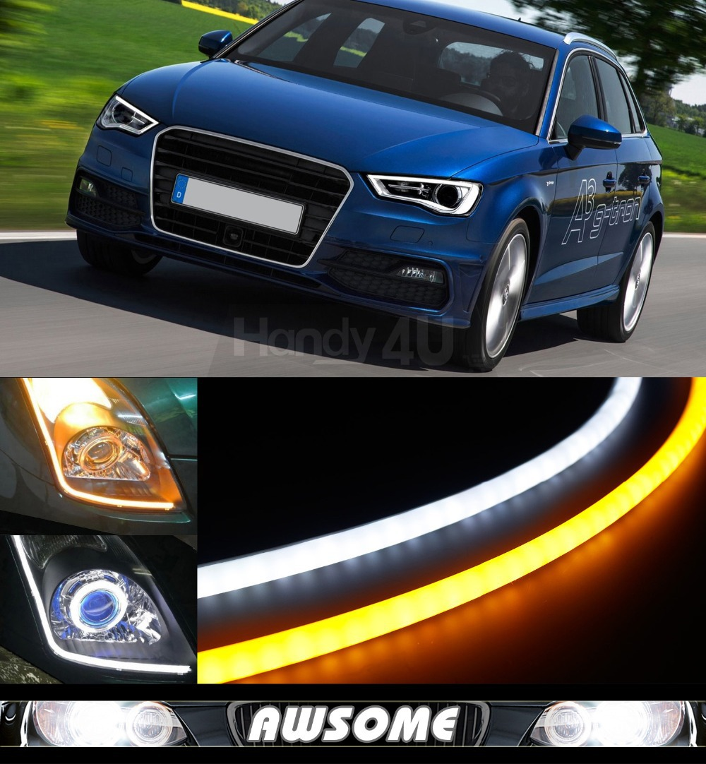 2x 60cm DRL Flexible LED Tube Tear Strip Style Car Headlight Light Amber/White For A3 A4 A5 A6 A8 Q5 Q7 R8 S4 S5 S6 TT Quattro 2pcs 12v car drl led daytime running light flexible tube strip style tear strip car led bar headlight turn signal light parking