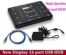 High Quality black new display 16 port usb hub, hard disk production batch testing, cheap price high quality warranty 1 years