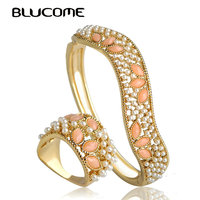Blucome Classic Irregular Artificial Pearls Resin Bangle Ring Sets Party Jewelry Set Women Lady Party Dress Decoration Wide Ring