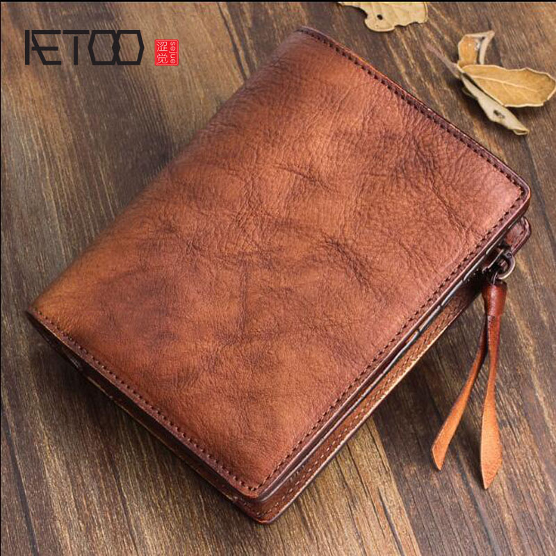 AETOO Handmade wallet men short vertical section soft leather men wallet young women vegetable tanned leather