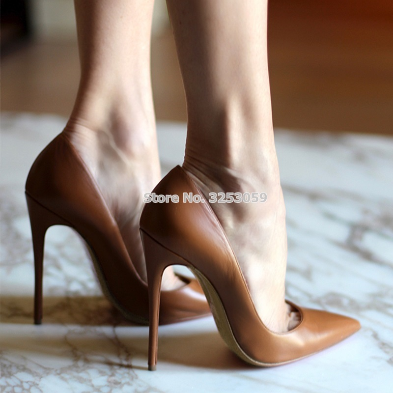 ALMUDENA Top Brand Nude Brown Wine Red Matte Leather High Heel Shoes Celebrity P