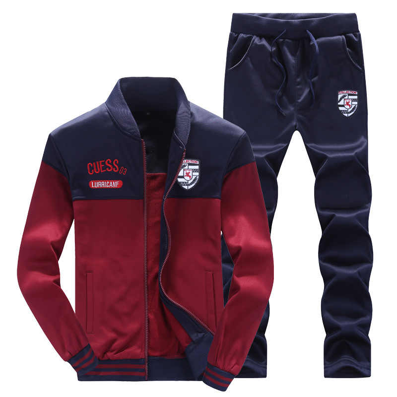 Chándal hombre moda Splice diseñador hombres abrigos sudadera Casual Delgado cuello redondo ropa deportiva chaqueta + Pantalones Moletom Masculino 2019