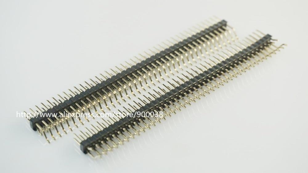 5pcs 2x40P 80 Pin  2.54mm Pin Header Male Dual Row Right Angle 90 Degree SMT PCB Mount Gold