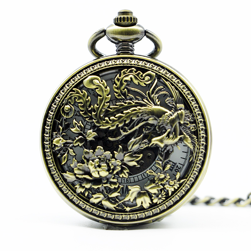 Fashion Hollow Vintage Mechanical Pocket Watch Carving Retro Phoenix Automatic Bronze White Dial With Fob Chain PJX1299