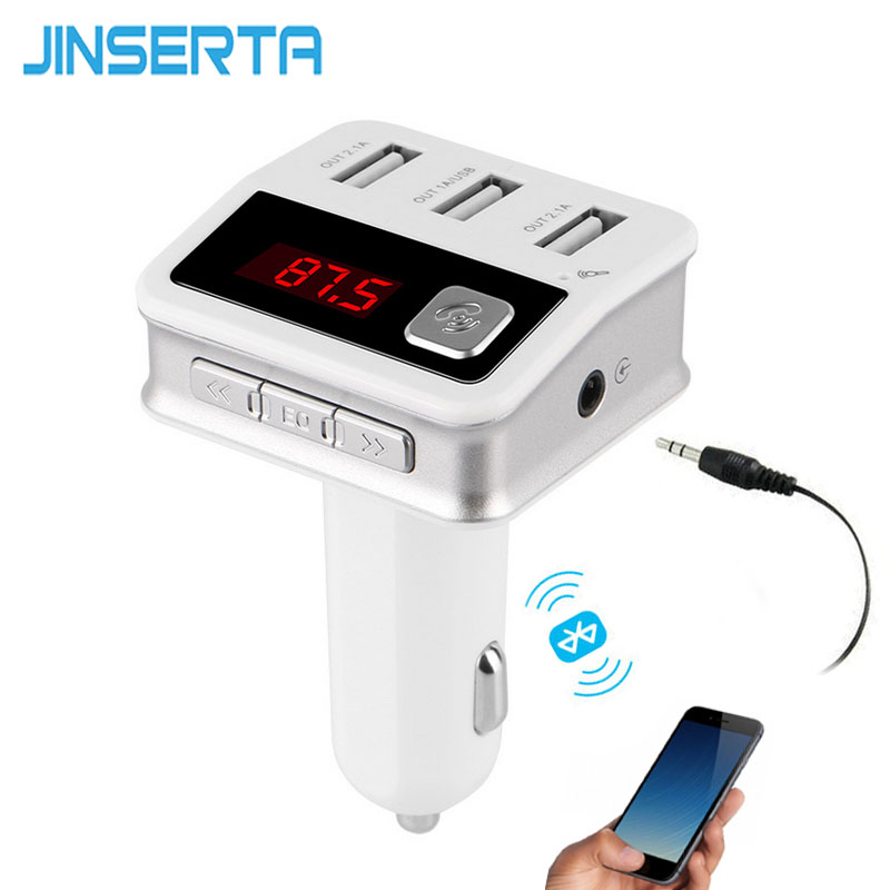 JINSERTA Car MP3 Audio Player Bluetooth FM Transmitter Wireless Modulator Car Kit HandsFree 3 USB Port AUX Input Jack