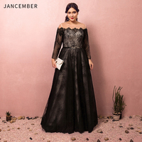 JANCEMBER Plus Size Prom Dresses Tulle Long Sleeve Illusion Boat Neck Cut Out Applique Belt Lace Up Back prom dresses 2019 New