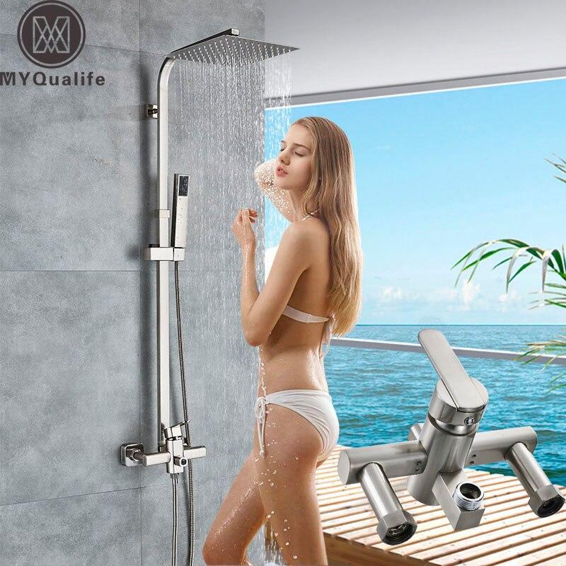 Fırçalanmış nikel duş musluk tek kolu 8