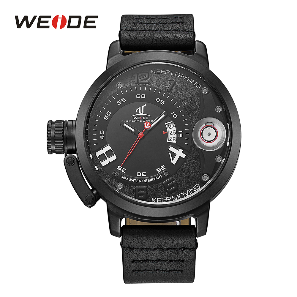 WEIDE Men Fashion Top Brand Sport Analog Quartz Movement Calendar Date Black Leather Strap Band Buckle Hardlex Wristwatch goblin shark sport watch 3d logo dual movement waterproof full black analog silicone strap fashion men casual wristwatch sh165