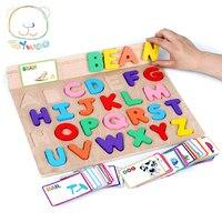 ABC 알파벳 카드 학습 영어 어린이 어린이 나무 말뚝 퍼즐 조기 교육 장난