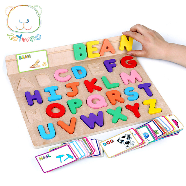 ABC Alphabet Card Learning English Kids Children Wooden Peg Puzzles - alphabet card