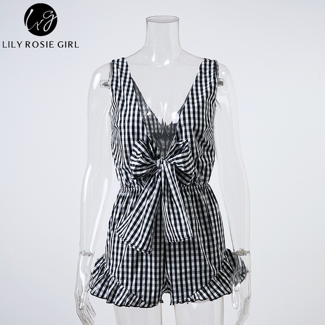 Lily Rosie Girl Black Plaid Ruffles Bow Sexy Playsuit Women Deep V Neck Summer Sexy Short Rompers Backless Jumpsuits Overalls