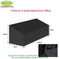 Cover up 195cm bench protector cover,195x75x65/100cm,patio chair cover ,Black color, Oxford fabric, customized available