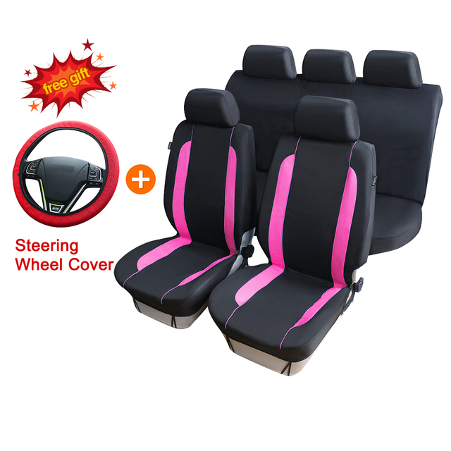 Auto Care 9pcs Full Set Polyester Fabric Car Seat Covers Colorful Line Design Pink Blue And