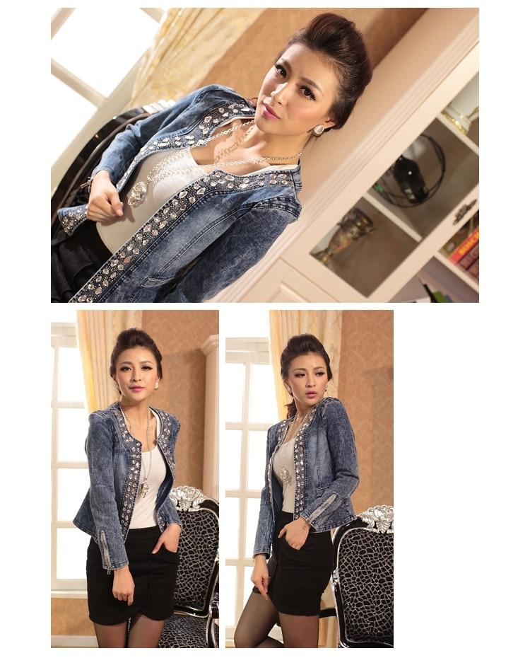 HTB1ieZFeCSD3KVjSZFKq6z10VXae FMFSSOM 2019 New Arrival Spring Antumn Denim Jackets Vintage Diamonds Casual Coat Women's Denim Jacket For Outerwear Jeans