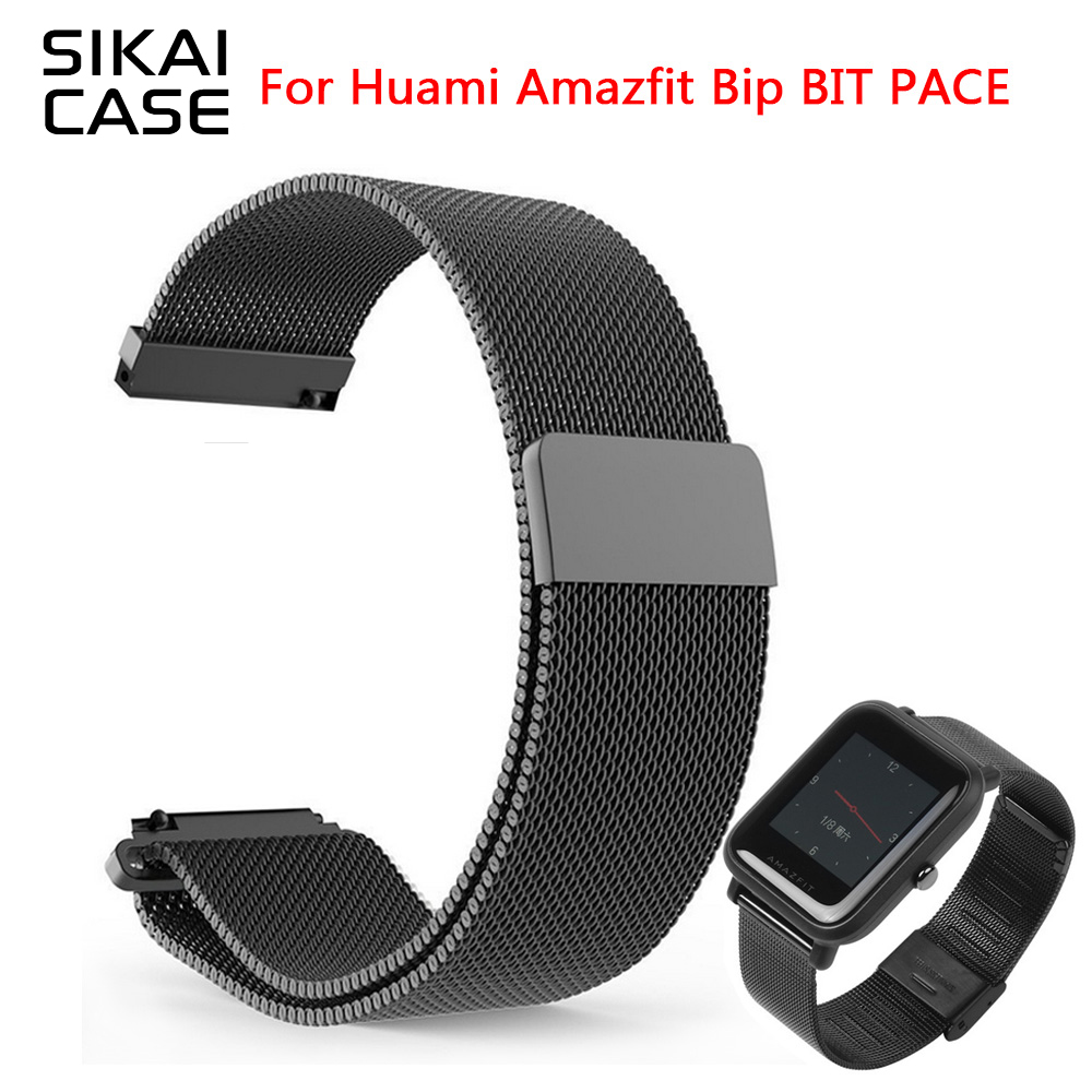 SIKAI 20mm Universal 20mm Metal Stainless Steel Replace Straps For Huami Bip BIT PACE Lite Youth Watch For Amazfit BIT Strap sikai universal 20mm stainless steel watch straps bracelets for huami bip bit pace lite youth watch for xiaomi amazfit bit band