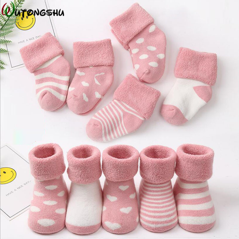 5 Pairs /3 Pairs Baby Socks Warm Infant Socks Newborns Socks Birthday Gift For Boy Girl 0-24 Months Winter Socks Baby