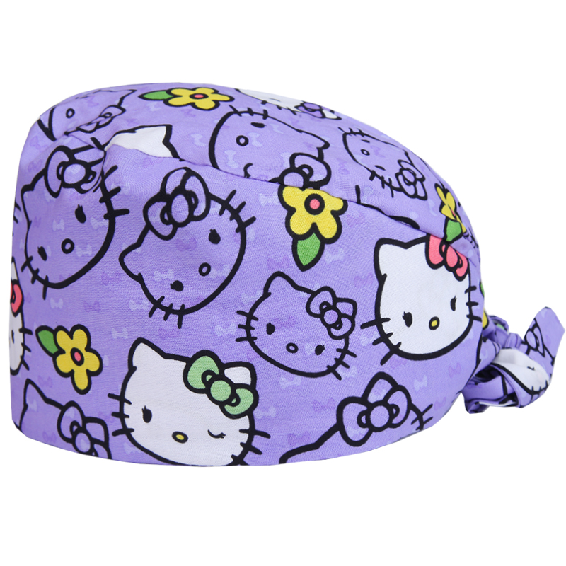 Women's Surgical Scrub Cap European Style Catty Print Medical Work Hat For Dentist Doctors Cotton With Sweatband OR Nurse Hats