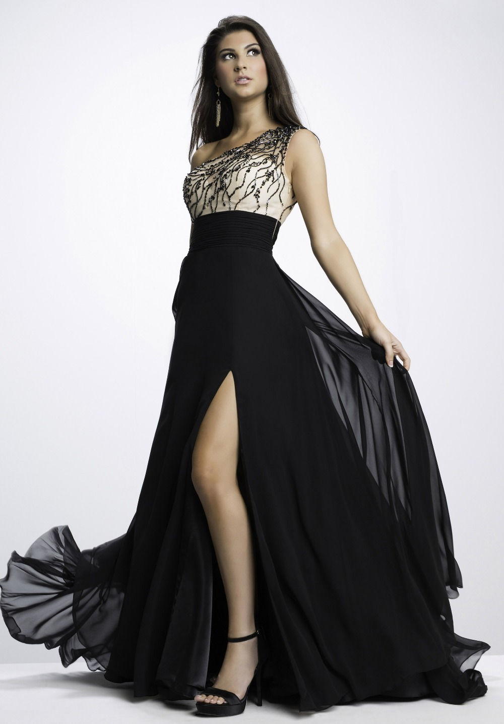 Black Sequins Prom Dresses Formal Gowns Plus Size Crystal -8492