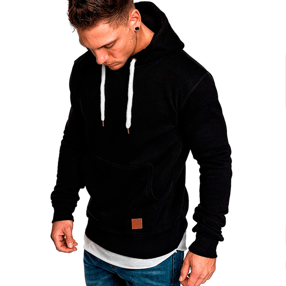 Men Winter Hoodies Long Sleeves Pockets Hooded Pullover Minimalist Casual Sports Tops -MX8