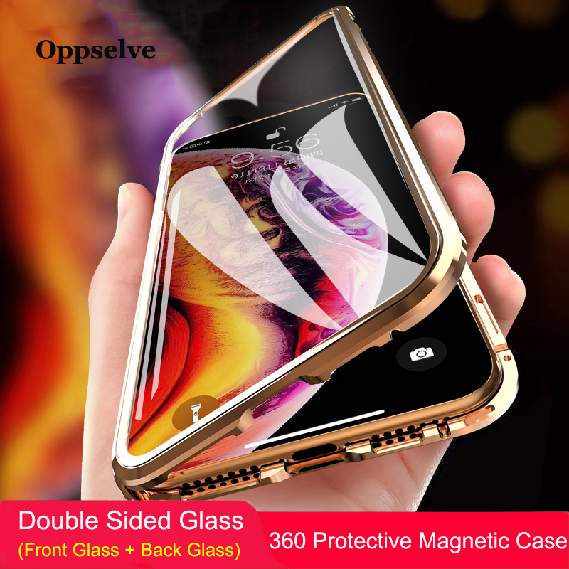 360 Double Sided Glass Magnetic Adsorption Phone Case For iPhone XR XS Max X 8 7 6 6S Plus Metal Magnet Tempered Glass Capinhas iPhone XR