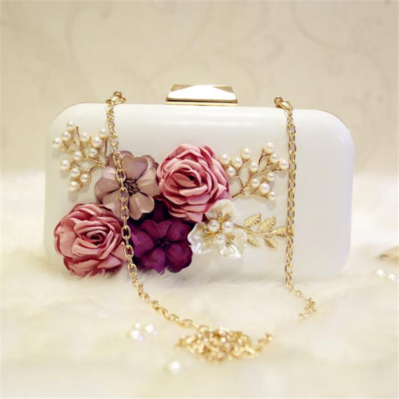 100% Handmade Pearls Flower Clutch Bag Women Mini Evening Bag Party Banquet Hand Bag Bride Bridesmaid Wedding Clutch Purse24315