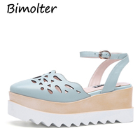 Bimolter NEW Thick Platform Pumps Shoes Women Gunuine Leather Pink Blue Shoes Wedges Heels Hollow Cut Out Casual Shoes LCSB004