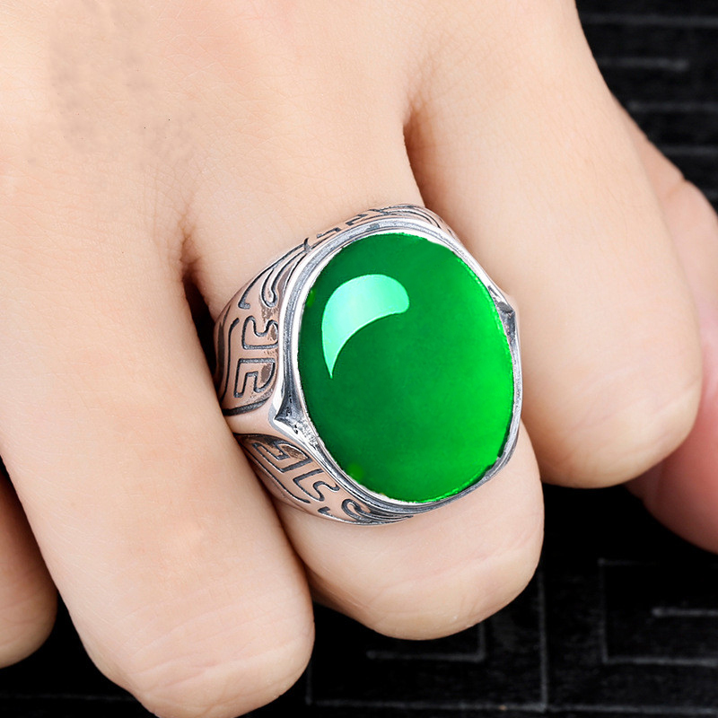 15*20mm NOT FAKE S925 Sterling Silver Asia Emerald Rings Jade moldevite upper class lithuania Retro Chalcedony15*20mm NOT FAKE S925 Sterling Silver Asia Emerald Rings Jade moldevite upper class lithuania Retro Chalcedony