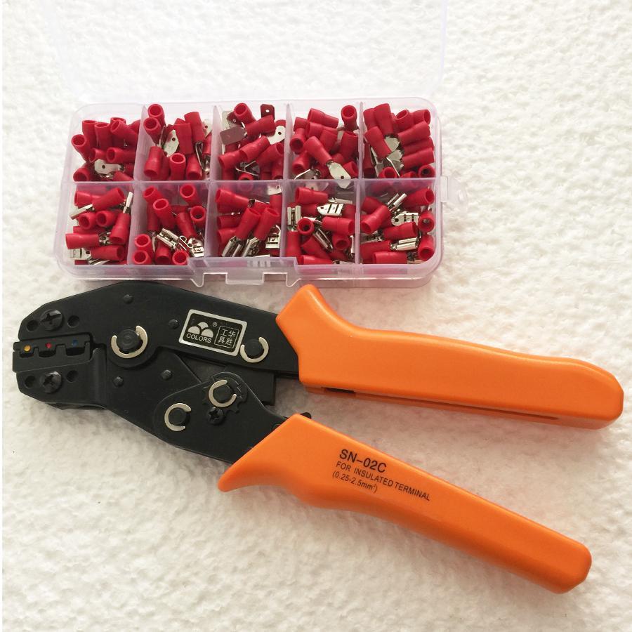 Livraison gratuite SN-02C en 0.25-2.5mm2 sertissage pince mains outil avec 1 boîte de 4.8mm Femelle/Mâle Isolé fil Terminal Connecteurs