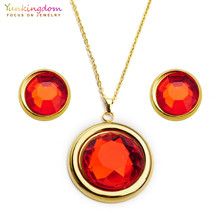 Yunkingdom charms red crystal round titanium jewelry sets stainless steel  pendant necklace earrings for women Party UE0176 2959f577c4c6