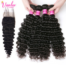 Vanlov Deep Wave Human Hair Bundles With Closure Remy Malaysia Hair 4 Bundles With Closure Swiss Lace Hair Extension 5 PCS/Lot(China)