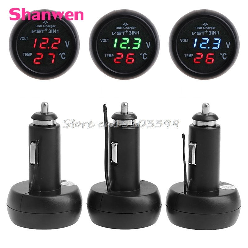 3in1 Car Auto Digital LED Thermometer USB Charger Cigarette Voltmeter 12V/24V 3Color G08 Drop ship 3 in 1 multifunctional car digital voltmeter usb car charger led battery dc voltmeter thermometer temperature meter sensor