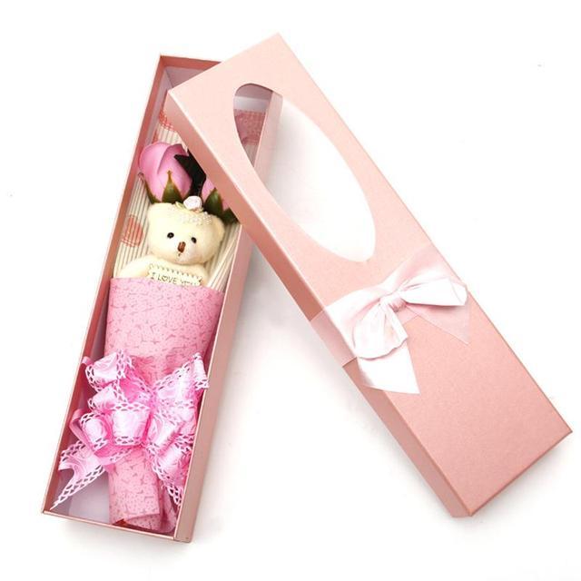 Romántico Día de San Valentín de Regalo oso de Peluche 3 Capas Jabones de Flores Color de Rosa Pétalos de Baño Grande Idea Navidad/de La Boda/Regalo del partido