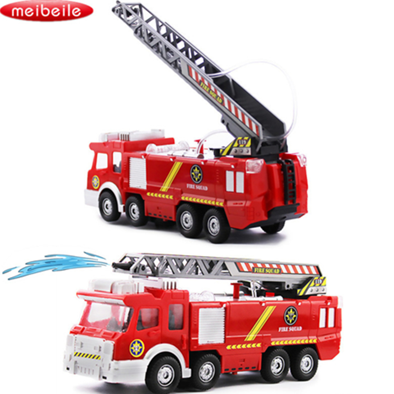 Spray Water Gun Toy Truck Firetruck Juguetes Fireman Sam Fire Truck Vehicles Car Music Light Cool Educational Toys for Boys Kids children inertia toy car simulator ladder truck firetruck
